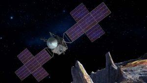 artist's illustration of the psyche mission orbiter spacecraft
