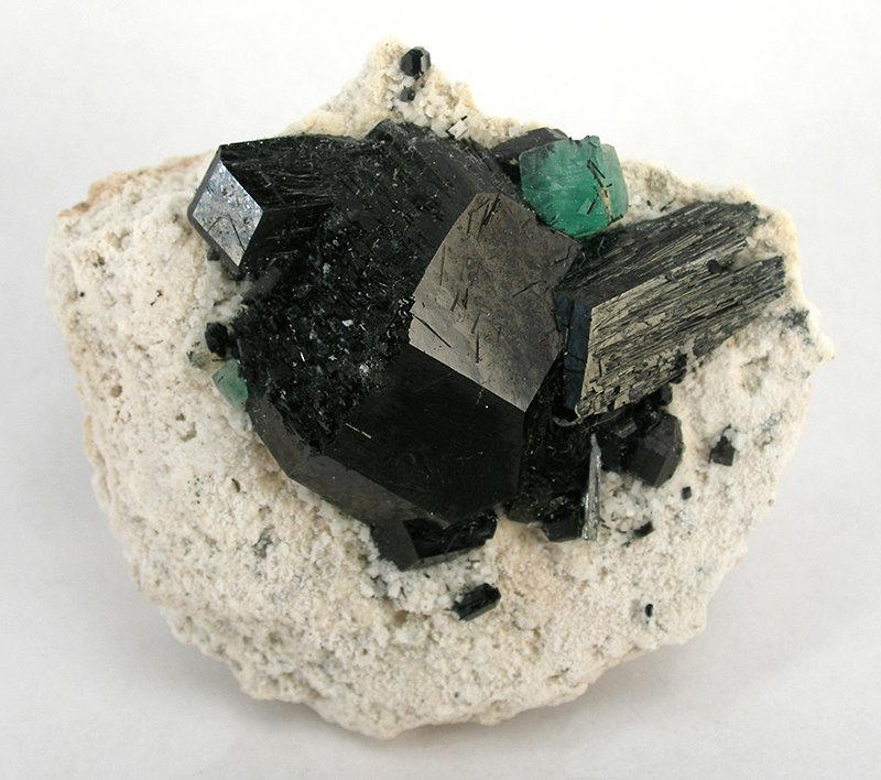 Black rectangular tourmaline crystals growing on a white rock. At the top of the blackish tourmaline crystals is a small green fluorite crystal.