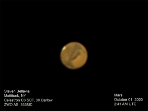 Brown-orange ball with darker streaks and white spot at one edge.