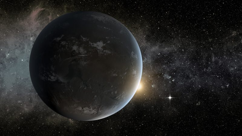 Planet with small patches of white clouds, with stars in background and small, distant sun.
