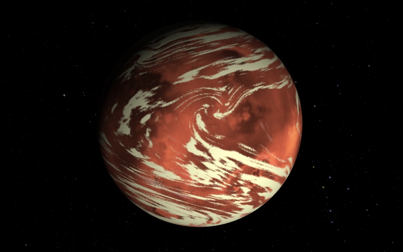 Planet with long, wispy white clouds over red surface, with stars in background.