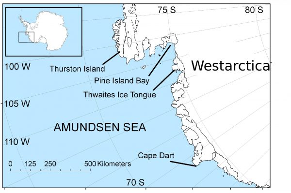Map of section of Antarctica with glacier locations labeled.