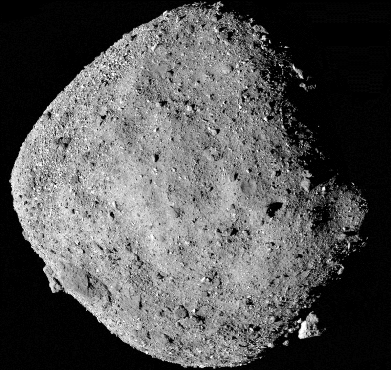 New odds on asteroid Bennu: A square-shaped rock with a pebbly surface.