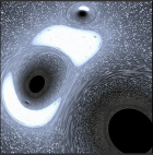 Illustration of a multiple black holes orbiting each other.