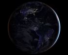 Composite satellite image of Earth's western hemisphere (North and South America) at night.