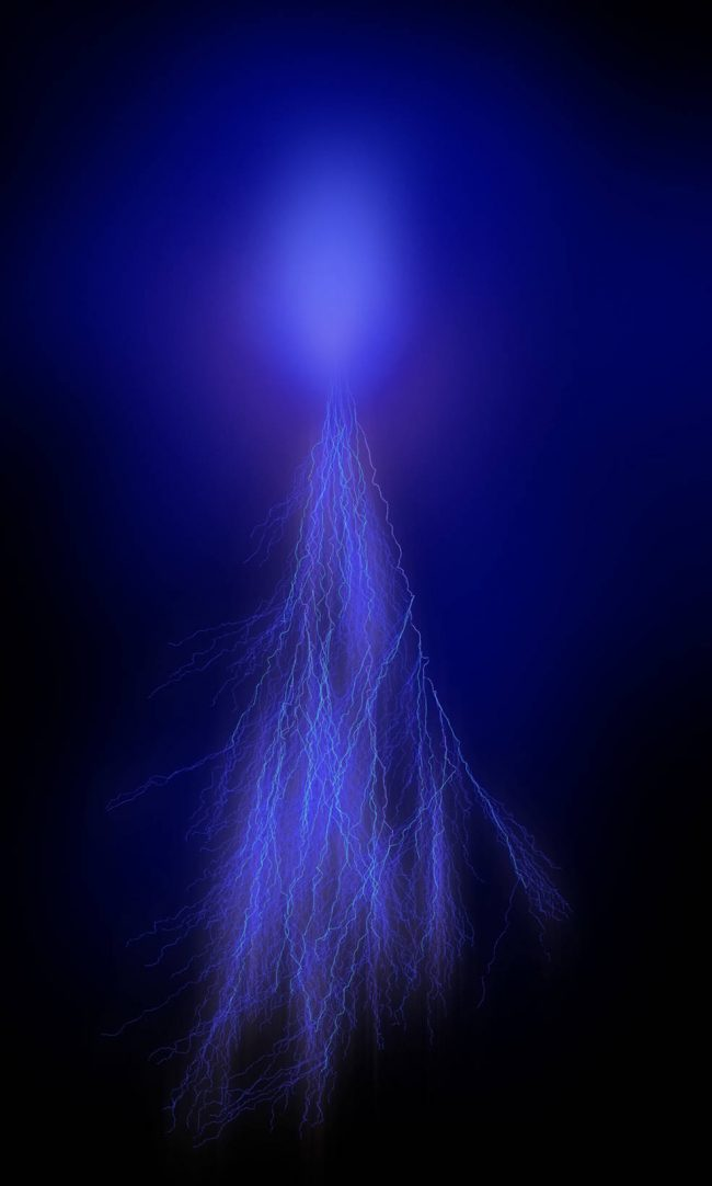 A long, blue lightning sprite. It looks a bit like a jellyfish with electric tentacles.