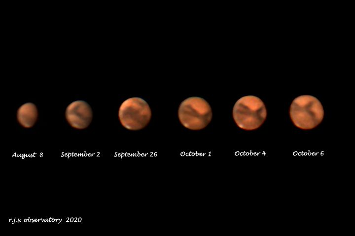 Multiple images of Mars between August and October 2020.