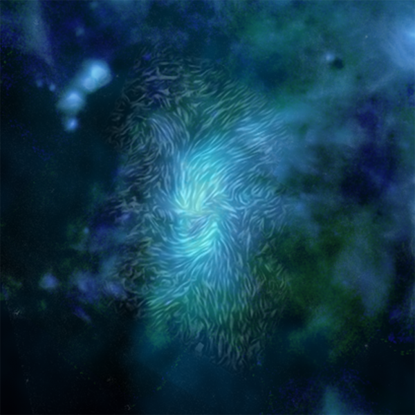 Dust aligned along magnetic fields at the center of the Milky Way galaxy.