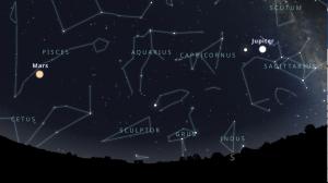 "Star chart showing Mars, Jupiter, Saturn, plus constellations of the celestial ""ocean."""
