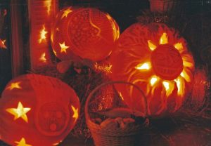 Pumpkins with stars and a comet.