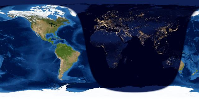 Worldwide map of day and night sides of Earth with Americas on day side.