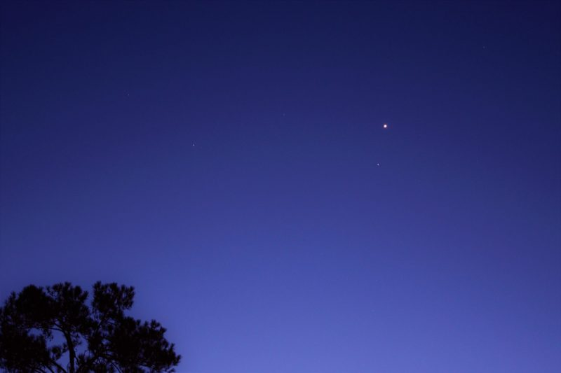A brighter dot (Venus) and a fainter one (Regulus) shining in a twilight sky.
