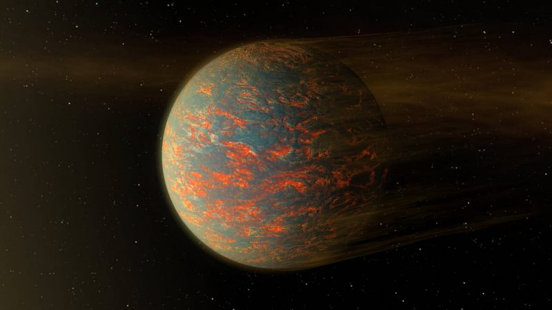 Rocky planet with many glowing reddish swirls on its surface and stars in the background.