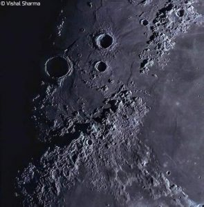 Montes Apenninus show exaggerated features when the moon's terminator crosses them.