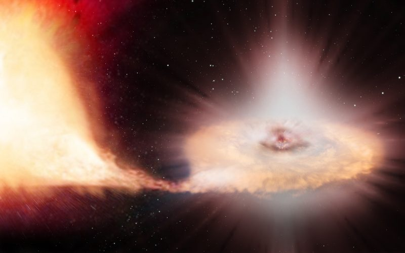 Gases from a star stretched toward a disk around another star.