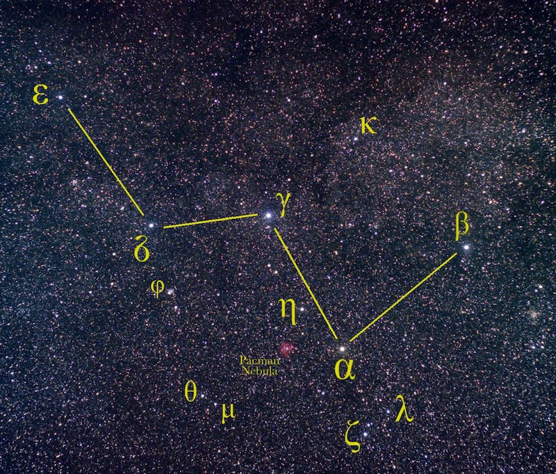 Dense star field, showing Cassiopeia with connect-the-dot lines tracing a W with stars labeled.