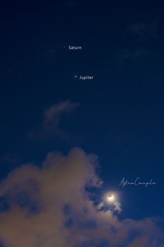 Dots labeled Saturn and Jupiter with small waxing crescent moon showing earthshine.