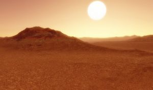 Reddish molten lava surface with hills and large sun in reddish sky.