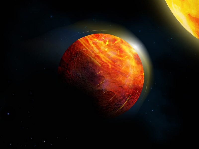 Reddish, streaked planet close to its star, and other stars in background.