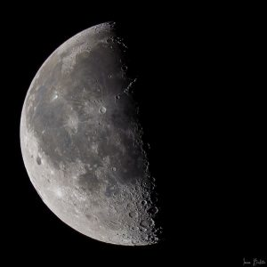 The terminator separates day from night on the moon.