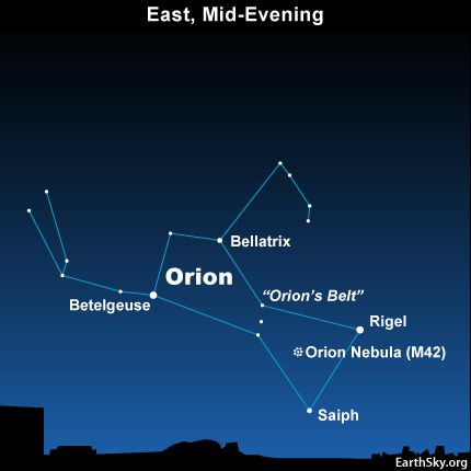 Star chart showing constellation Orion with Rigel, Betelgeuse and Bellatrix marked.