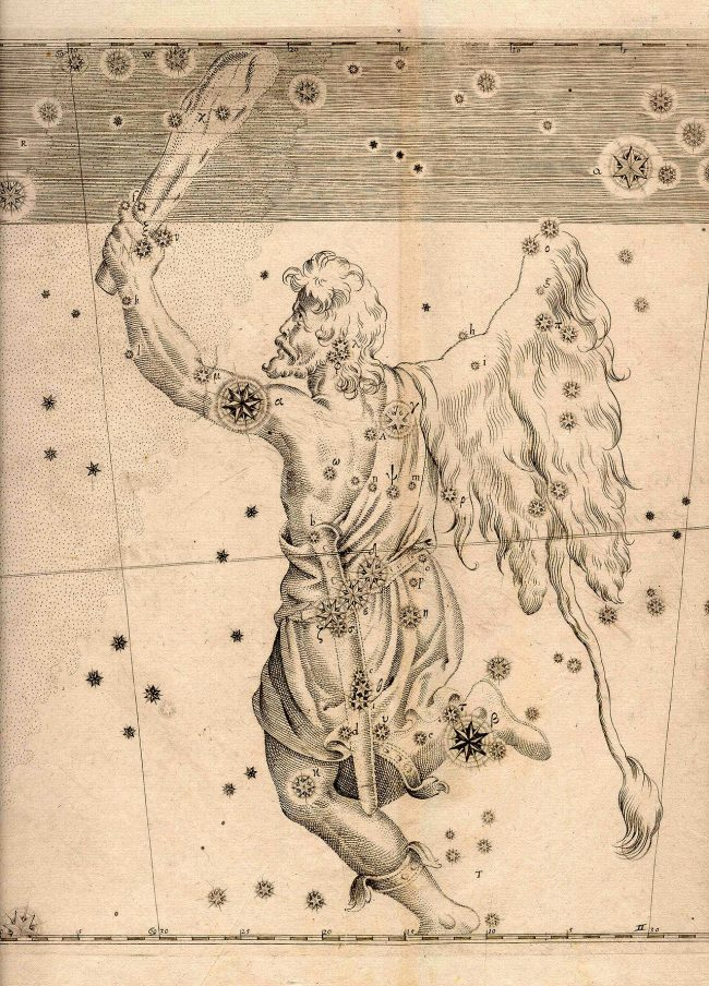 Antique star chart showing constellation Orion as drawing of hunter with club.