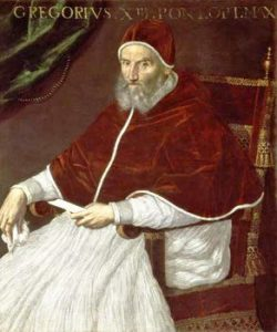 A medieval man in pope's robes.