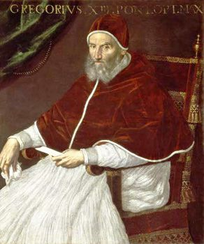 A medieval man in red and white pope's robe, cap, and cape.