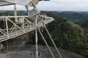 A photo showing cable damage at Arecibo Observatory.
