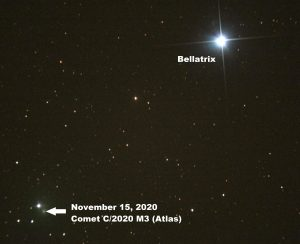 Photo of star Bellatrix, with a comet sweeping near.