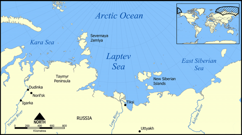 Map of north coast of Siberia and part of Arctic Ocean with areas labeled.