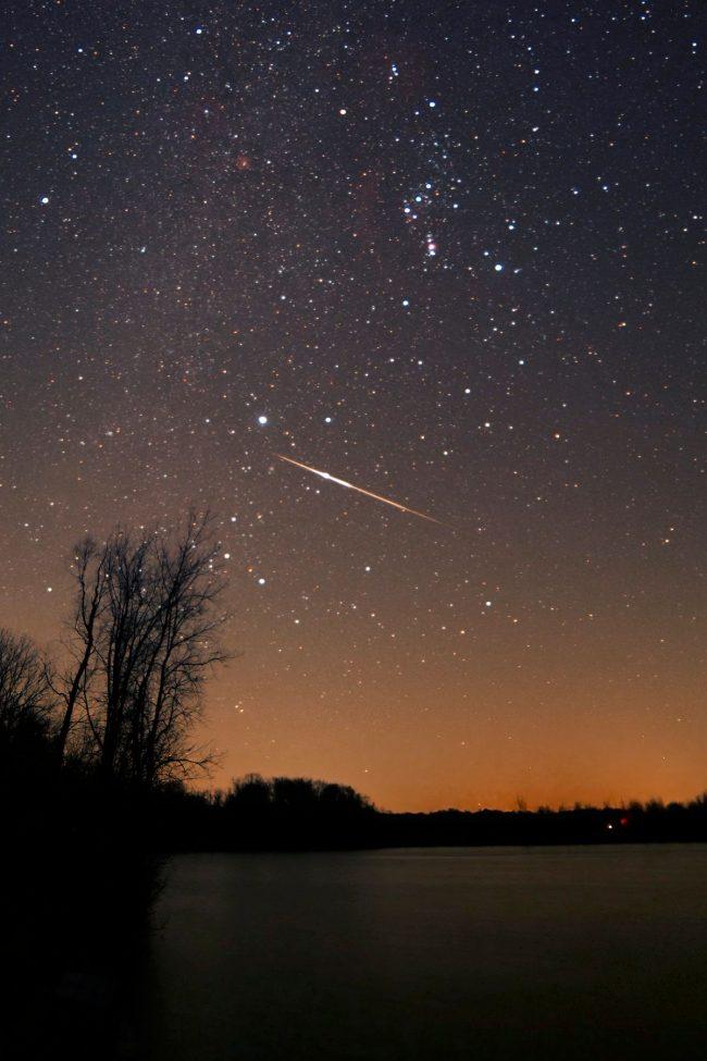 Leonid meteor streaking along in a starry sky.