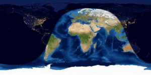 Worldwide map of day and night sides of Earth at greatest eclipse.