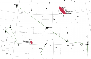 Star chart showing the area of the sky around the star Mirach.