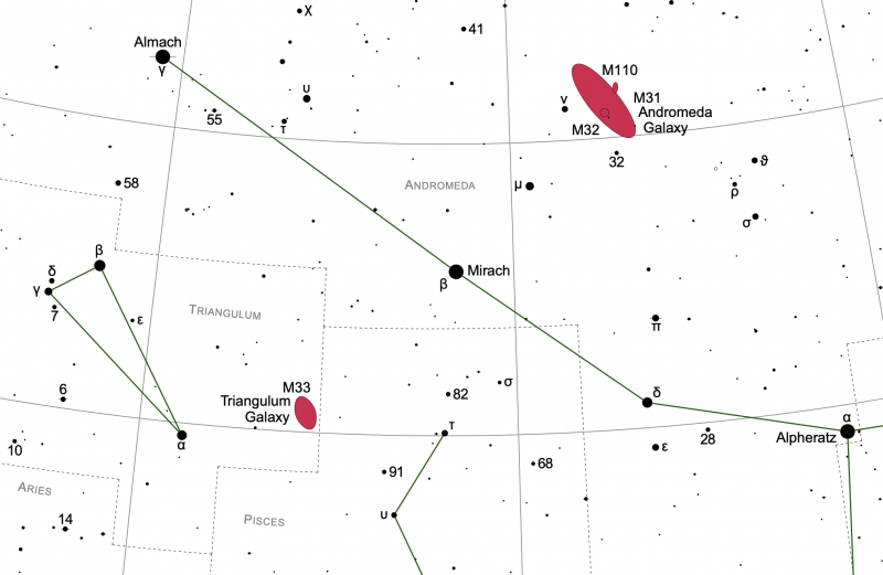 Star chart showing the area of the sky around the star Mirach with two galaxies in red.