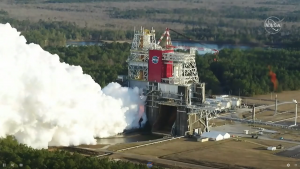 Smoke pouring from a test stand.