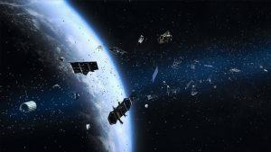Satellites, dust, and other space junk are seen floating in Earth's orbit.