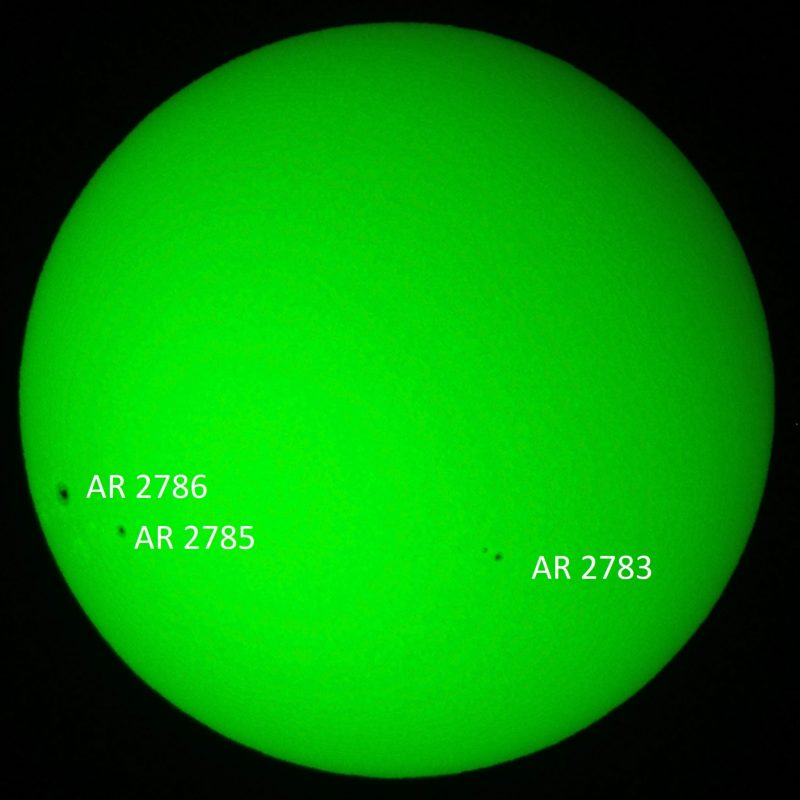 Large solid green circle with small, black, labeled dots on it.
