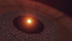 Artist's conception of NO Lup, a hot young star, surrounded by a disk of gas, flowing outward from the star.