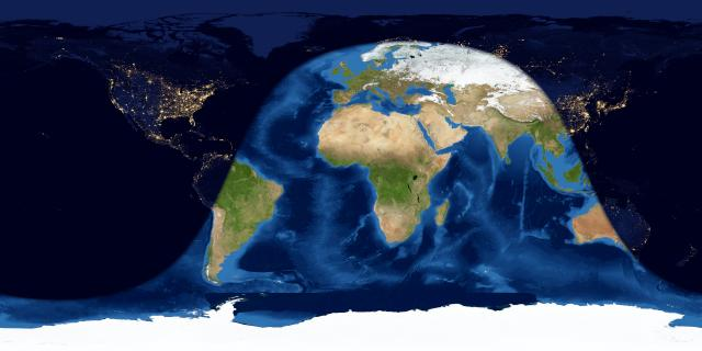 Map of Earth with day over South America, Africa, Europe, and parts of Asia and Australia.