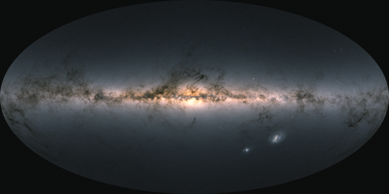 Bright, colorful horizontal band of stars with dark wispy tendrils along it, and 2 bright patches.