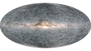 Large oval shape with thousands of thin, curved lines inside it, and bright blob in the center.