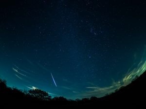 A bright Geminid streaks across the night sky.