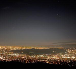 Jupiter and Saturn over Glendale, California.