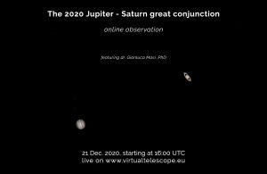 Jupiter-Saturn online viewing Dec 21 2020 poster Virtual Telescope.