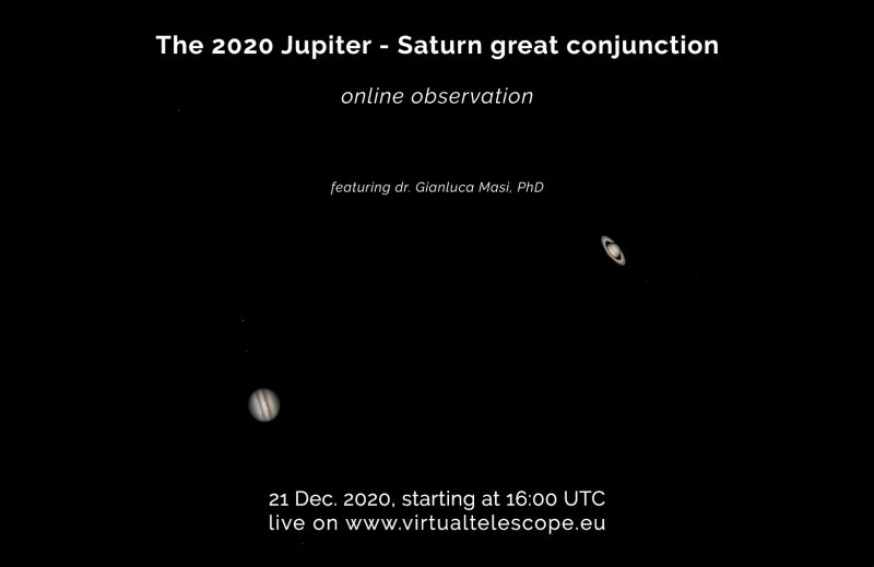 Poster for Virtual Telescope online Jupiter-Saturn viewing, December 21, 2020.