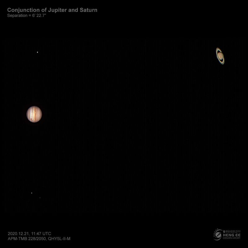 Close up of Jupiter and Saturn during the conjunction.