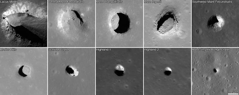 Ten photos of different-sized pits like deep, dark blemishes in the surface of the moon.
