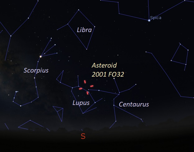 Chart of southern sky with constellations and red tick marks showing location of asteroid.