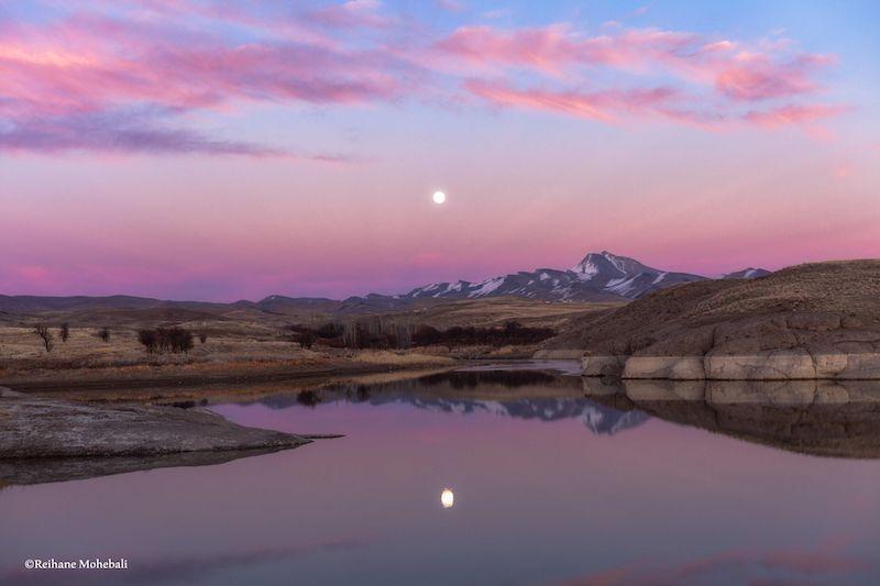 pick/purple landscape, upper half mirrored in lower half, white orb in top centre.